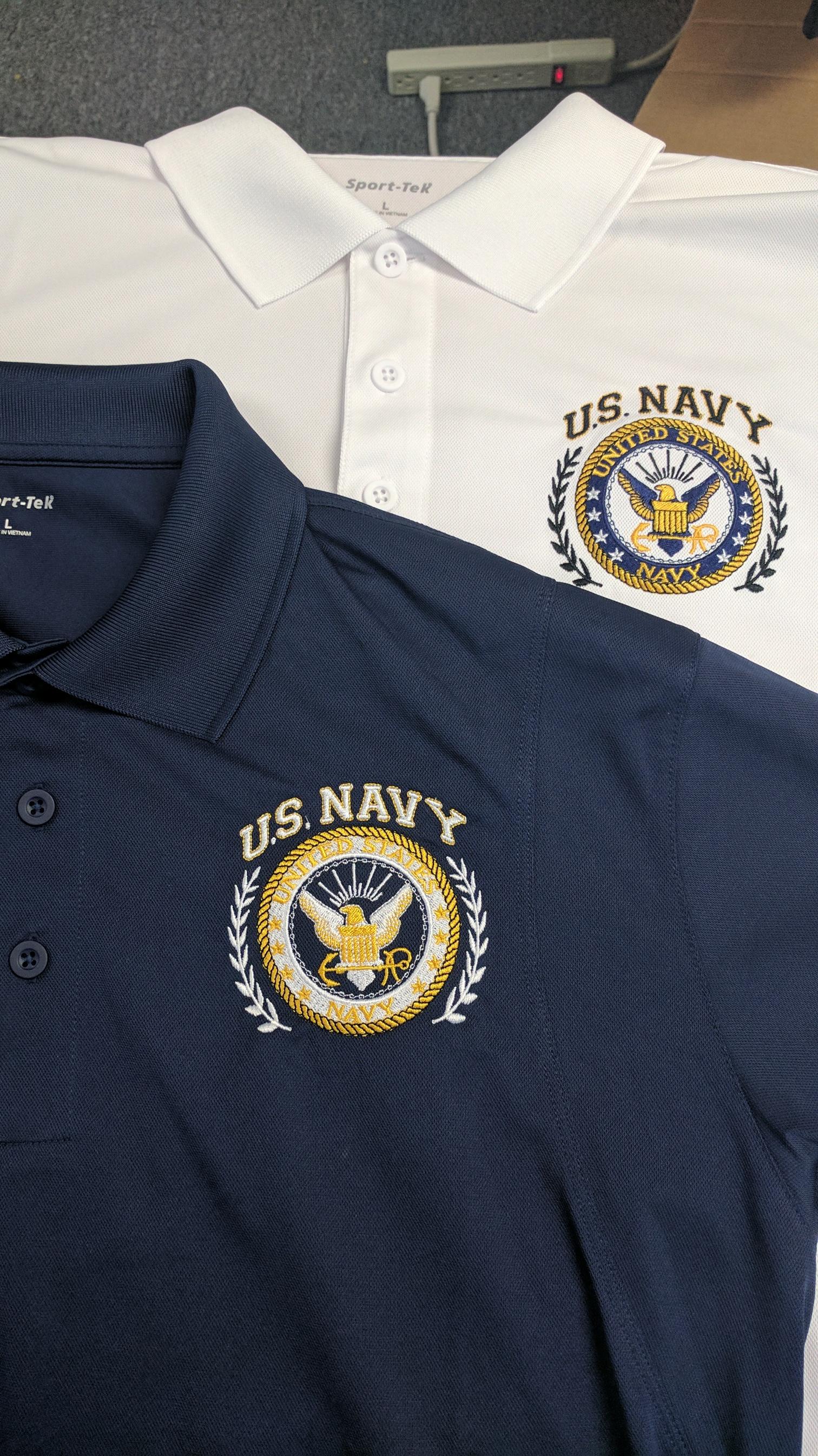 Navy Logo On Sport Tek Shirts Hines Screen Printing Embroidery